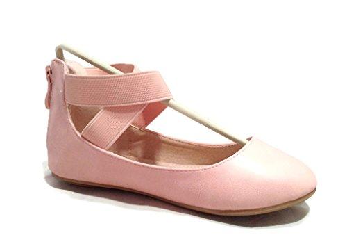 Anna Girl Kids Dress Ballet Flat Elastic Ankle Strap Ballerina Shoes Pink 9 - Pink Ballerina Shoes With Elastic