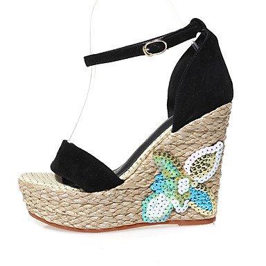 LvYuan Mujer-Tacón Cuña-Zapatos del club-Sandalias-Oficina y Trabajo Vestido Fiesta y Noche-Cuero-Negro Black