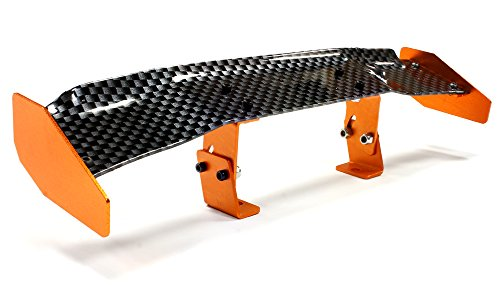 Integy RC Model Hop-ups C25455ORANGE Realistic Alloy Rear Wing 165mm w/ Adj. Mount for 1/10 Size Drift & Touring Car (Touring Wing)