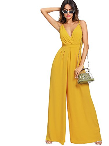 Verdusa Women's Sleeveless Surplice V Neck Pleated Culotte Wide Leg Jumpsuit Yellow M
