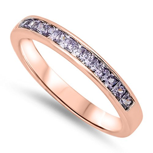 Half Eternity Band Ring Princess Cut Simulated Purple Amethyst Rose Gold Plated 925 Sterling Silver