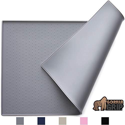 Gorilla Grip Silicone Pet Feeding Mat, Easy Clean, 18.5x11.5 Dishwasher Safe, Waterproof, Raised...