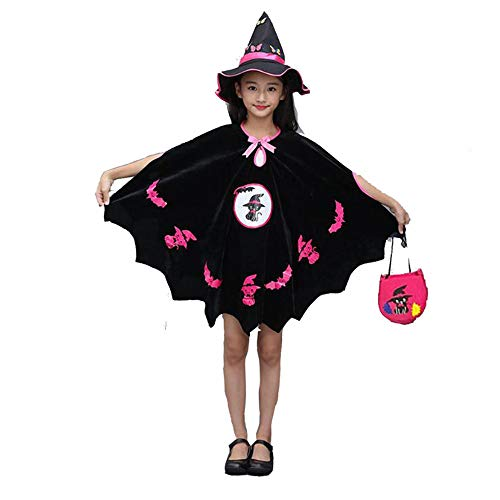 FEITONG Kids Baby Girls Halloween Cape Cloak Dance Performance Costume+Hat Outfit+Pumpkin -