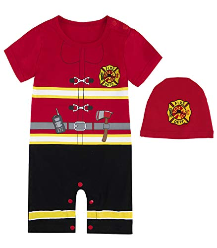 Cosland Baby Boys' Halloween Costume Fireman Romper with Hat Short Sleeve(3-6 Months, -