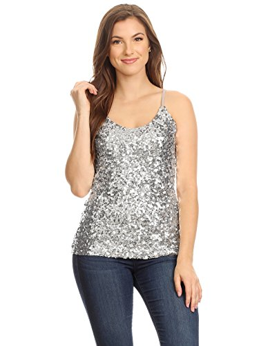 Anna-Kaci Womens Shimmer Sparkly Sequins Spaghetti Strap Camisole Vest Tank Tops,Silver,Medium -