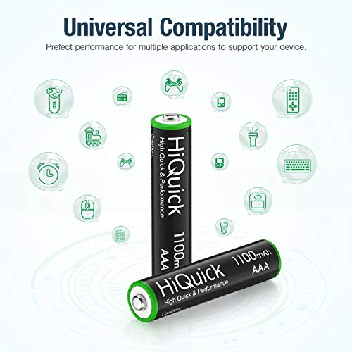 HiQuick 8 x AAA Batteries, Rechargeable 1100mAh Battery, Ni-MH 1200 Recycle Times, High Capacity Performance, Pack of 8 with 2 Cases