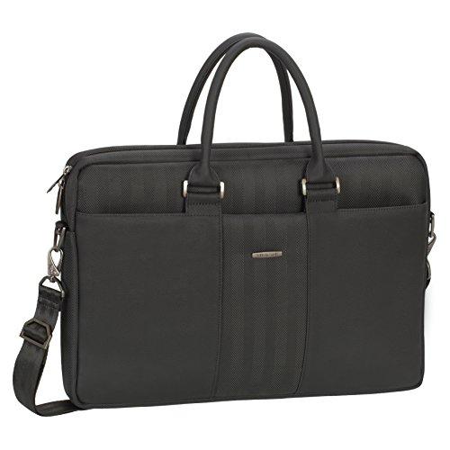 Rivacase 15.6 Inch Laptop Attache Case, Stylish, Slim, Padded, Black (Attache Case For Women)