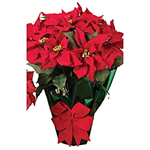 AC 22″ Potted Red Poinsettia Plant with 10 Flowers and Decorative Bow