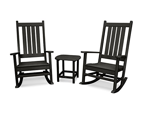 POLYWOOD Vineyard 3-Piece Rocking Set (Black)