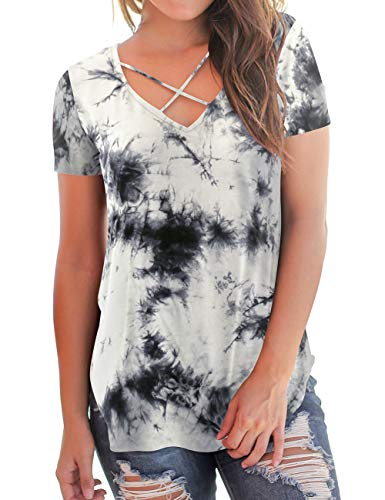Grey T-Shirt for Women Tie-Dye Tops Short Sleeve V-Neck Comfy Tunic Tees L