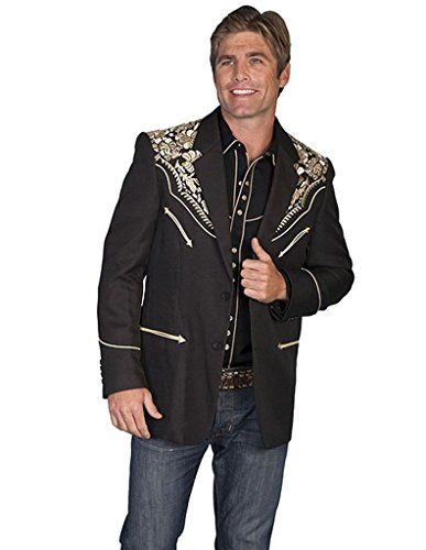 Scully Western Blazer Mens Embroidered Floral 52 Long Gold P-806