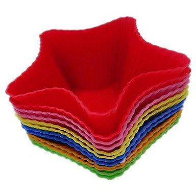 FMY Pentagle Star Shape Cupcake Moulds Mousse Cups, 12 Pieces per Set , multi color