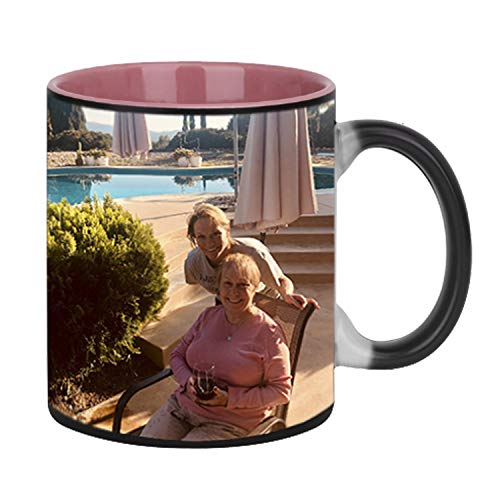 Pink Coffee Photo - Magic Photo Ceramic Coffee Mugs, Personalized Custom Heat Sensitive Color Change Morning Coffee Mug Milk Water Tea Cup Add YOUR PHOTO&TEXT,Perfect Thanksgiving/Christmas/Birthday Keepsake gifts