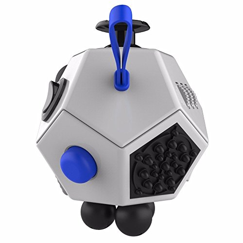 Fidget Dice II 12 Sides Anti-anxiety and Depression Toys with 360 Degree Active Rocker to Ease The Pressure, Relieves Stress and Increases Focus for Children and Adults - 3 Color (White) -