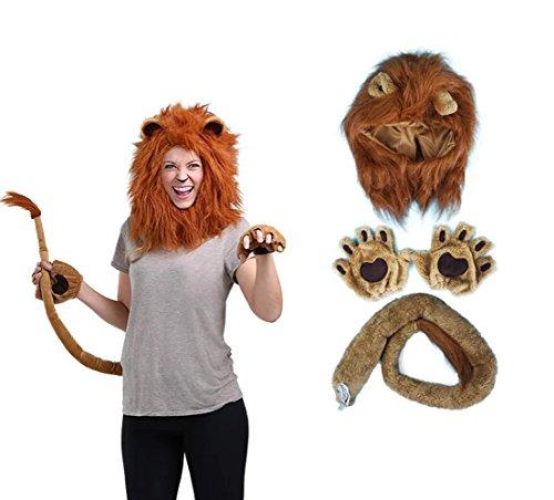 Lion Ears And Tail (Kacm Adult Halloween Animal Cartoon Headgear Headband Gloves and Tail the Kits)