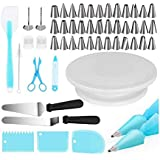 Cake Decorating Kits Supplies 73-in-1 Baking Accessories with Cake Turntable Stands, Cake Tips, Icing Smoother Spatula…