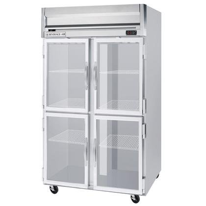 Beverage-Air HF2-1HG 52'' Horizon Series Two Section Glass Half Door Reach-In Freezer 49 cu.ft. capacity Stainless Steel Front Gray Painted Sides Aluminum