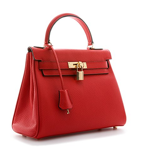 Handbags 25 CM Women's Shoulder 32CM Ainifeel Purses Hobo 28CM Padlock Red Bag qORx0xBw