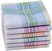 Houlife 100% 60S Combed Cotton Striped Checked Handkerchief with Assorted Color Elegant Hankie for Women Ladie