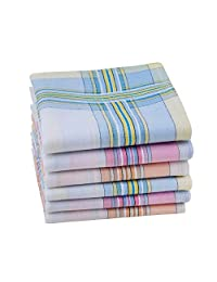 """Houlife 100% 60S Combed Cotton Striped Checked Handkerchief with Assorted Color Elegant Hankie for Women Ladies, 11×11"""""""