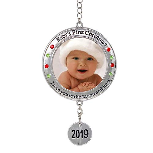 BANBERRY DESIGNS Baby's First Christmas - 2019 Photo Xmas Ornament - I Love You to The Moon and Back Picture Opening for Babies - First Christmas Frame Ornament