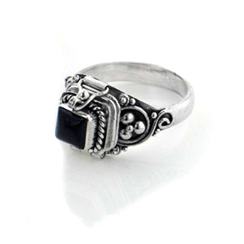 (Small Square Sterling Silver Black Onyx Poison Box Locket Ring Size 9(Sizes 4,5,6,7,8,9,10,11))