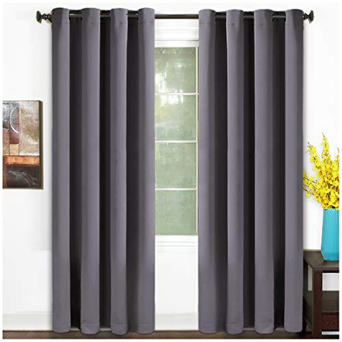 TEKAMON 99% Blackout Curtains Thermal Insulated Grommet 2 Panels Set Draperies, Room Darkening Panels for Living Room, Bedroom, Nursery (W52 X L84, 2 Panels, Dark Gray)