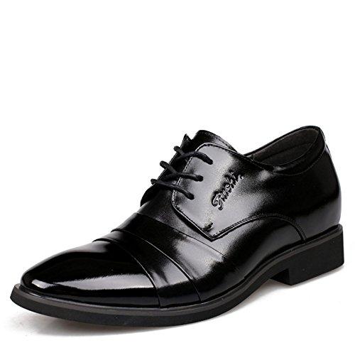Scarpe da Cuoio Scarpe Scarpe Rialzo da da Lavoro Cerimonia Uomo Uomo Black di WLFHM 6cm Scarpe da da qURfqd