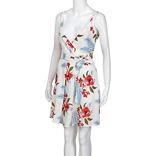 Blanco verano impresión de Mujeres V vestido Blanco Mujer sin sexy XL cuello Verano Vestidos LMMVP fiesta mangas de 2018 wUIq8