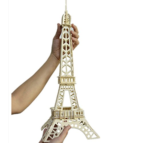 Smilelove Eiffel Tower 23 Piece 3D Educational Wooden Jigsaw Puzzle for Kids and Adults - Easy Click Technology Means Pieces Fit Together Perfectly
