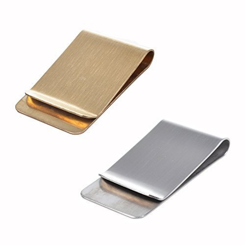 Bluecell Pack of 2 Stainless Steel Slim Money Clip (Silver & Gold)