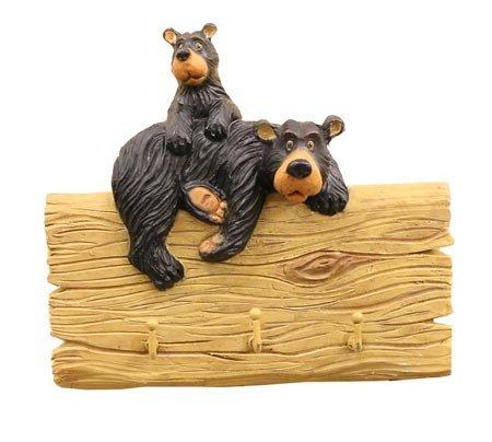 "Bear Family Wood Log 3 Hook Key Holder, Decorative Wall Sculpture Rack, 6"""