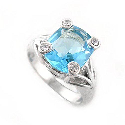Sterling Silver Four Points Crystal Prongs Cocktail Ring, Blue, Size 6 (Sterling Silver Four Point)