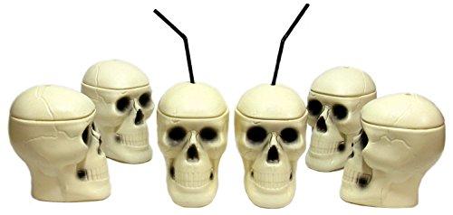 2-piece Plastic Lidded Skull Mug / Pack of 6