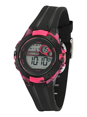 - Roxy Women's RX/1014BKPK THE TOUR Black and Pink Digital Chronograph Strap Watch