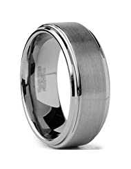 Metal Masters Co.® Tungsten Carbide Men's Brushed Finish / High Polish Beveled Edge Ring Wedding Band, Comfort Fit, 8MM Sizes 5 to 15