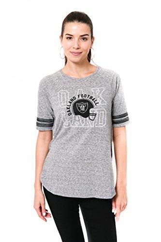 ICER Brands NFL Oakland Raiders Women's T-Shirt Vintage Stripe Soft Modal Tee Shirt, Large, - Tees Oakland Raiders Vintage