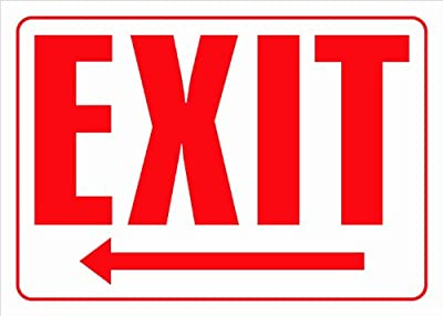 """Exit (with left arrow) 10""""x14"""" Heavy Duty Plastic Sign"""