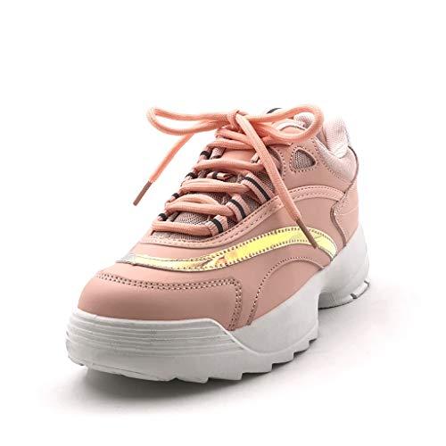 Sneaker Moda Moderno Angkorly Zeppa 4 Tennis Tacco Cm Donna Zeppe Olografico Rosa Street Scarpe 5Eqxwqp