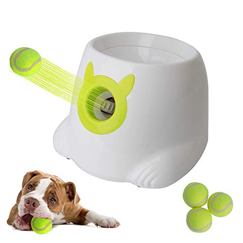 LUCKYERMORE Automatic Ball Launcher Thrower - Throwing Distance Settings 3 Balls Included Dog Fetch Machine Interactive Toy for Small Dog Indoor & Outdoor Use