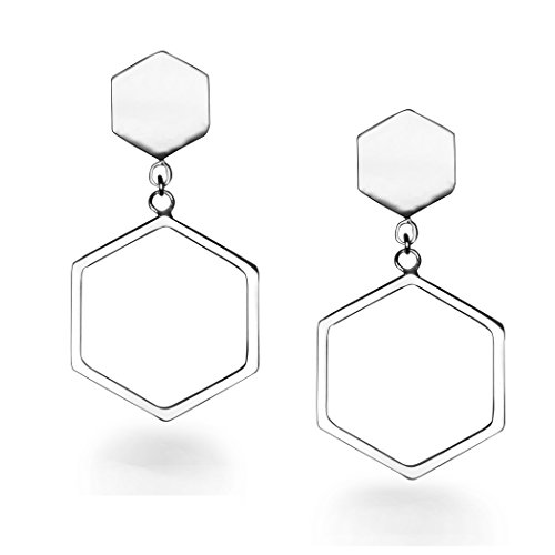 HushGecko 925 Sterling Silver Hexagon Dangle Stud Earrings Platinum Plated Nickel-free, Suitable for Hypoallergenic Sensitive Skin