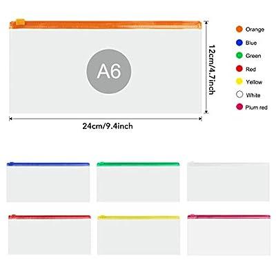 "JPSOR 10pcs Poly Zip Envelope Files 5 Color Zippers, 9"" x 4.7"""