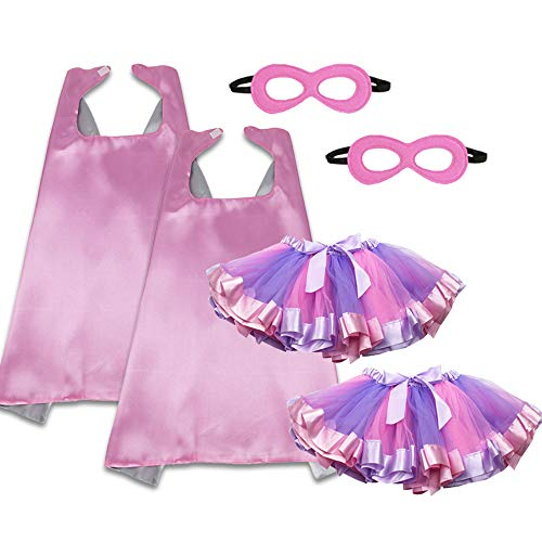iROLEWIN Pink Kids Superhero Dress Up Capes Masks and Tutu Skirts for Toddler Girls Birthday Party Costume Set, 6 Pieces -
