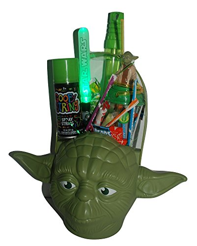 Yoda Star Wars Jedi Master Halloween Basket Gift Bundle Pack in keepsake basket with action figure cup crazy straw Goofy String bubble wand Light up Green Lightsaber and assorted candies