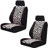 zebra stripe seat covers - ZEBRA BUCKET SEAT COVERS (PAIR) BLACK & WHITE STRIPES & PINK TRIM LOW BACK