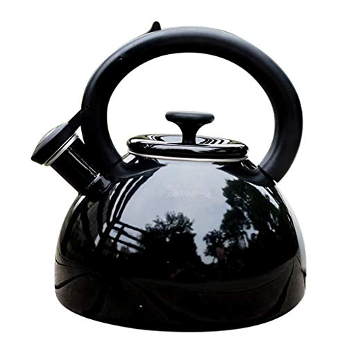 Prettyia Whistling Tea Kettle Enamel Stainless Steel Teapot Teakettle for Stovetop Induction Gas Electric Stove Top Heat Water Tea Pot, 2.5L