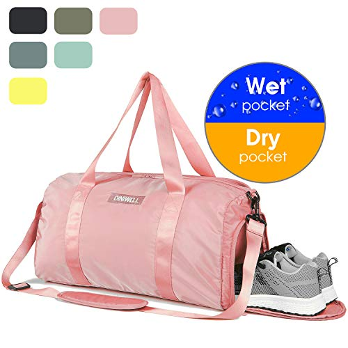 2e5e77c3573b Duffle Bag Gym Tote Swim Bag with Wet Pocket and Shoes Compartment for Sports  Travel Carry-on Luggage (Pink 3017)