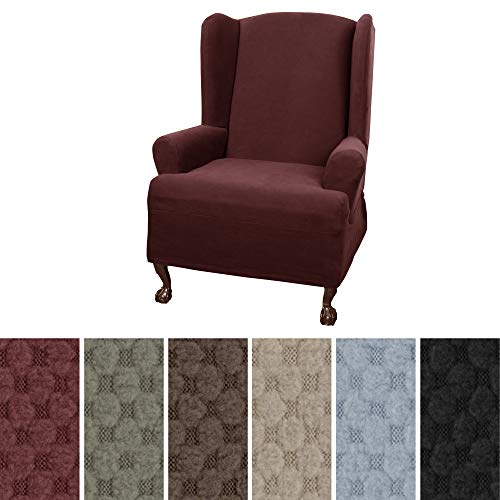 MAYTEX Pixel Ultra Soft Stretch Wing Back Arm Chair Furniture Cover Slipcover 1 Piece Wine Red