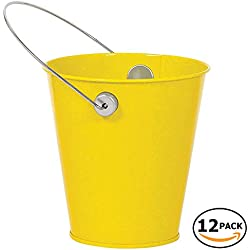 JAM Paper Colorful Metal Pails - Small - Yellow - 12 Party Favor Buckets/Pack