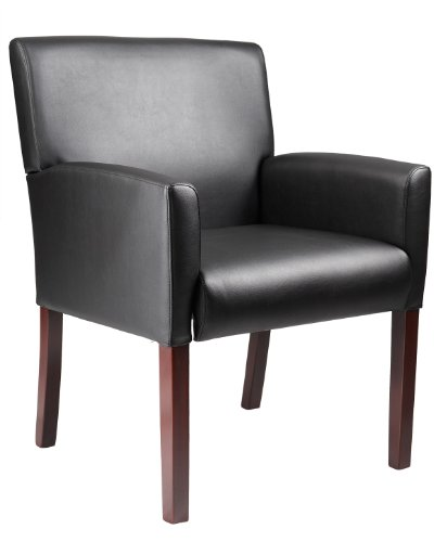 Boss Office Products B629M Reception Box Arm Chair with Mahogany Finish in Black